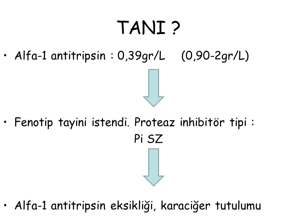 TANI Alfa-1 antitripsin : 0,39gr/L (0,90-2gr/L)