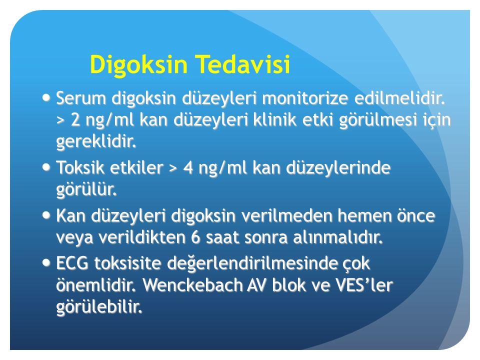 Digoksin Tedavisi Serum digoksin düzeyleri monitorize edilmelidir. > 2 ng/ml kan düzeyleri klinik etki görülmesi için gereklidir.