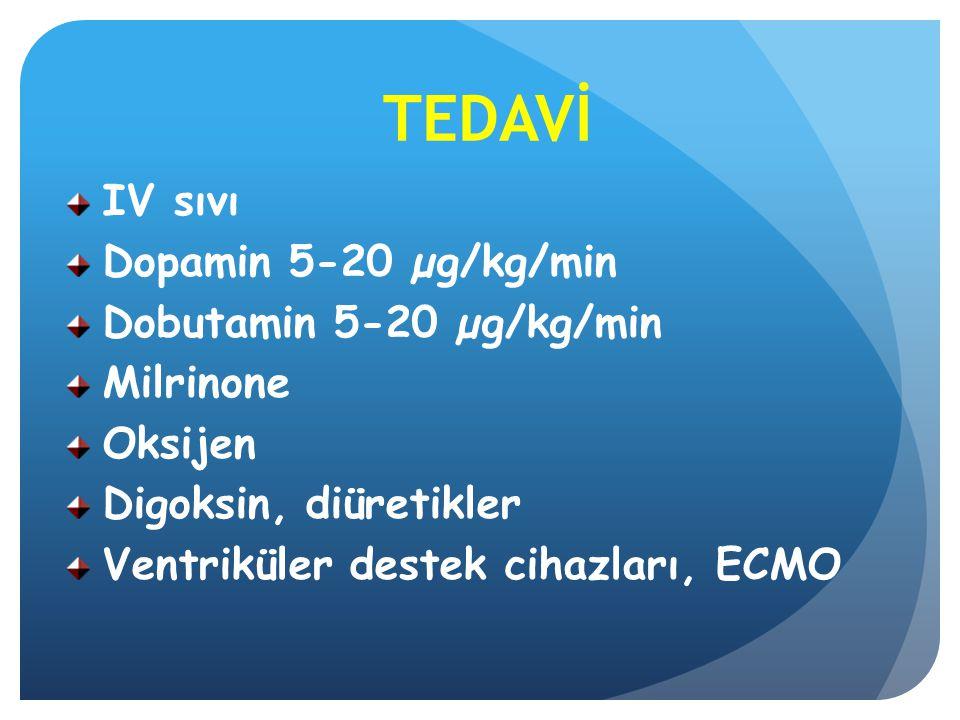 TEDAVİ IV sıvı Dopamin 5-20 µg/kg/min Dobutamin 5-20 µg/kg/min