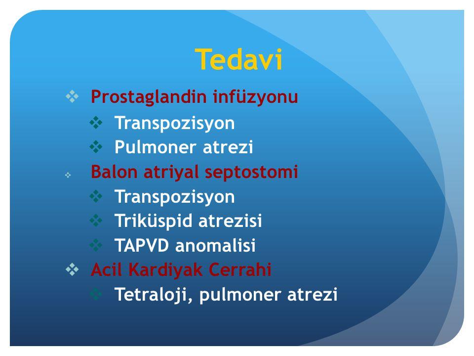 Tedavi Prostaglandin infüzyonu Transpozisyon Pulmoner atrezi