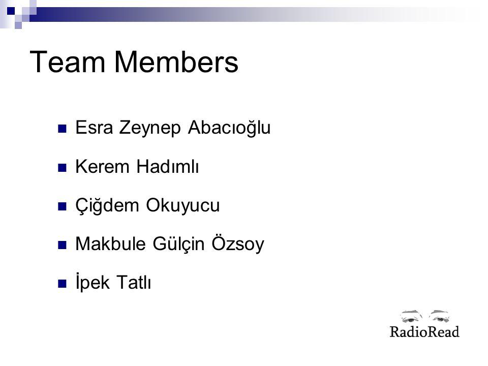 Team Members Esra Zeynep Abacıoğlu Kerem Hadımlı Çiğdem Okuyucu