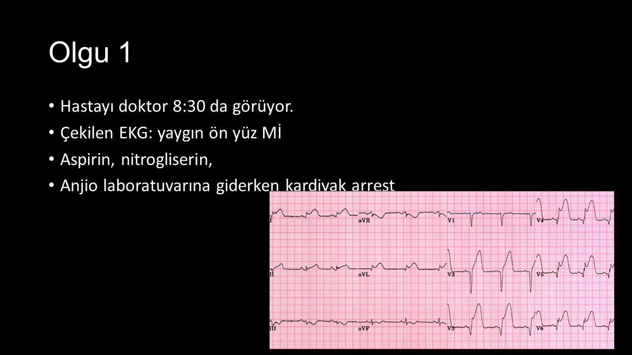 Olgu 1 Hastayı doktor 8:30 da görüyor. Çekilen EKG: yaygın ön yüz Mİ
