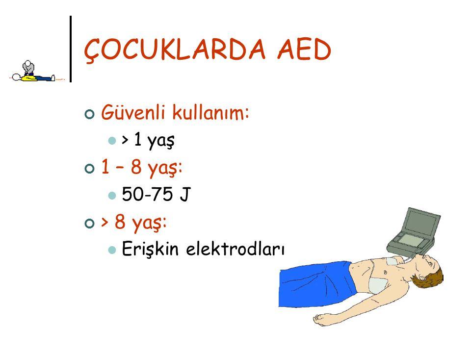 ÇOCUKLARDA AED Güvenli kullanım: 1 – 8 yaş: > 8 yaş: > 1 yaş