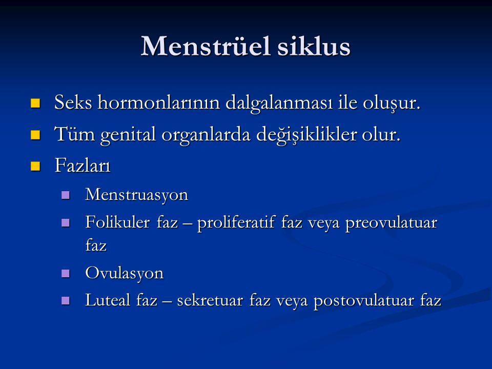 Menstrüel siklus Seks hormonlarının dalgalanması ile oluşur.