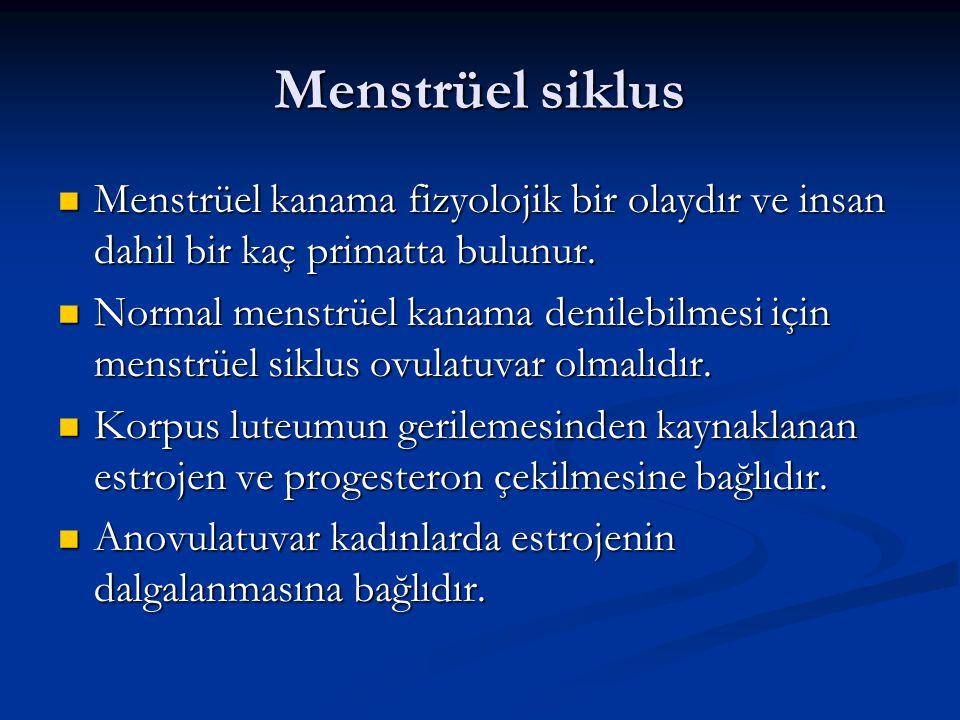 Menstrüel siklus Menstrüel kanama fizyolojik bir olaydır ve insan dahil bir kaç primatta bulunur.