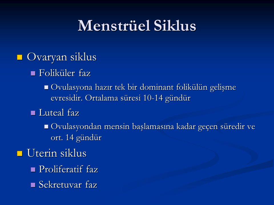 Menstrüel Siklus Ovaryan siklus Uterin siklus Foliküler faz Luteal faz