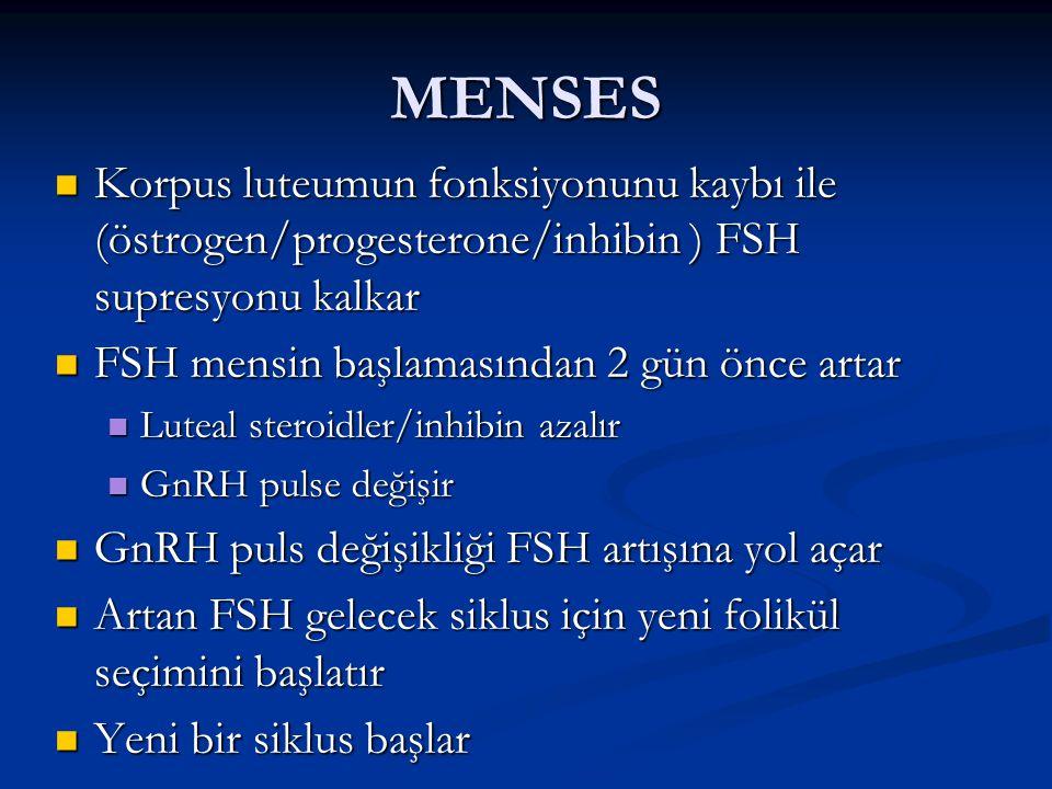 MENSES Korpus luteumun fonksiyonunu kaybı ile (östrogen/progesterone/inhibin ) FSH supresyonu kalkar.