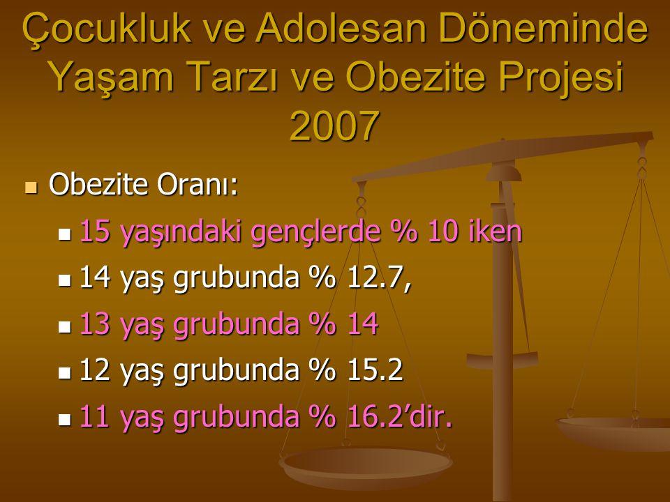 Çocukluk ve Adolesan Döneminde Yaşam Tarzı ve Obezite Projesi 2007