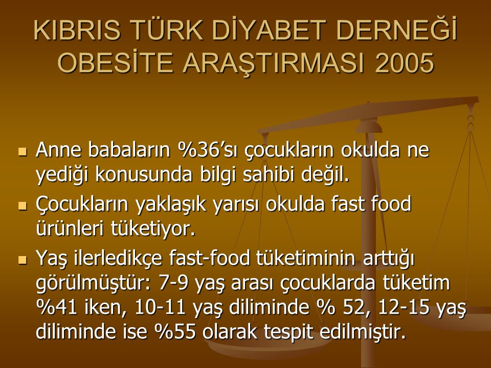 KIBRIS TÜRK DİYABET DERNEĞİ OBESİTE ARAŞTIRMASI 2005