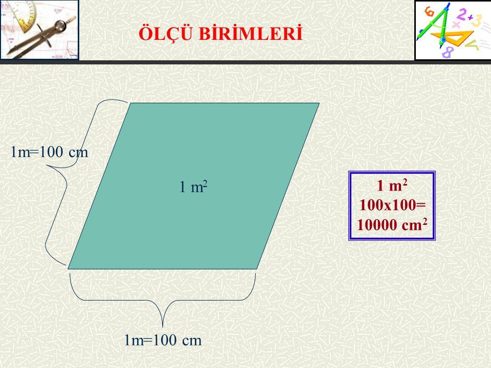 ÖLÇÜ BİRİMLERİ 1m=100 cm 1 m2 1 m2 100x100= 10000 cm2 1m=100 cm