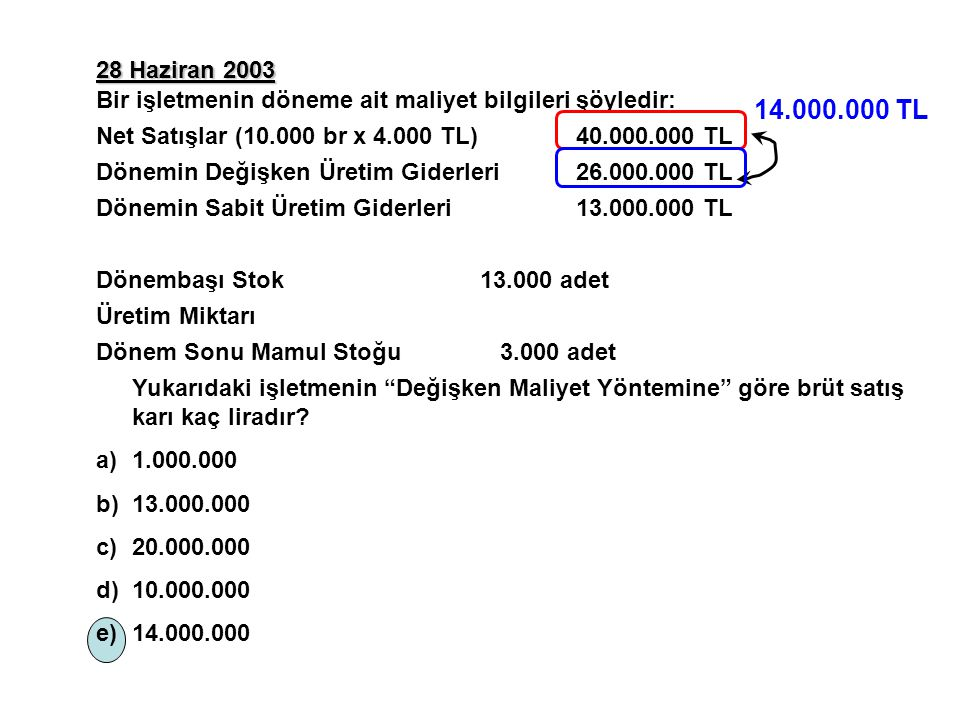 28 Haziran 2003 Bir işletmenin döneme ait maliyet bilgileri şöyledir: Net Satışlar (10.000 br x 4.000 TL) 40.000.000 TL.