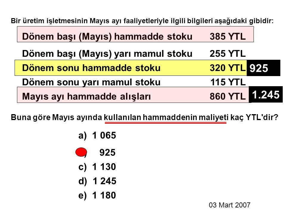 925 1.245 Dönem başı (Mayıs) hammadde stoku 385 YTL