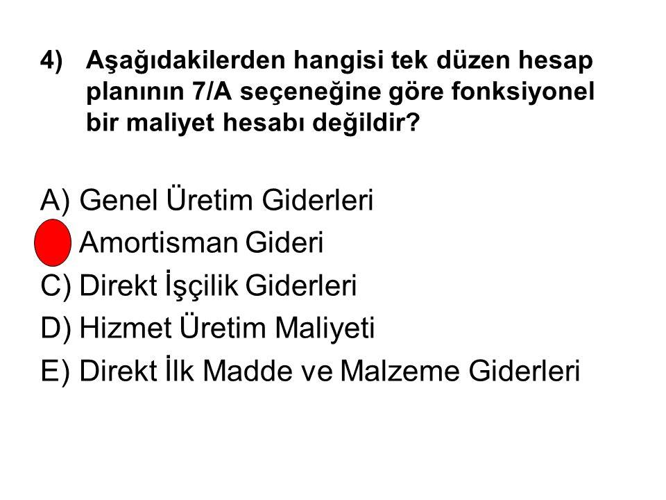 A) Genel Üretim Giderleri B) Amortisman Gideri