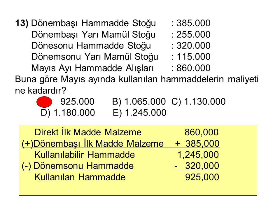13) Dönembaşı Hammadde Stoğu. : 385. 000. Dönembaşı Yarı Mamül Stoğu