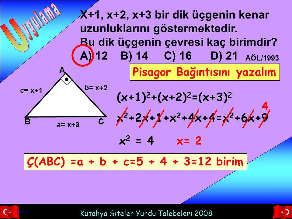 U ygulama. X+1, x+2, x+3 bir dik üçgenin kenar uzunluklarını göstermektedir. Bu dik üçgenin çevresi kaç birimdir