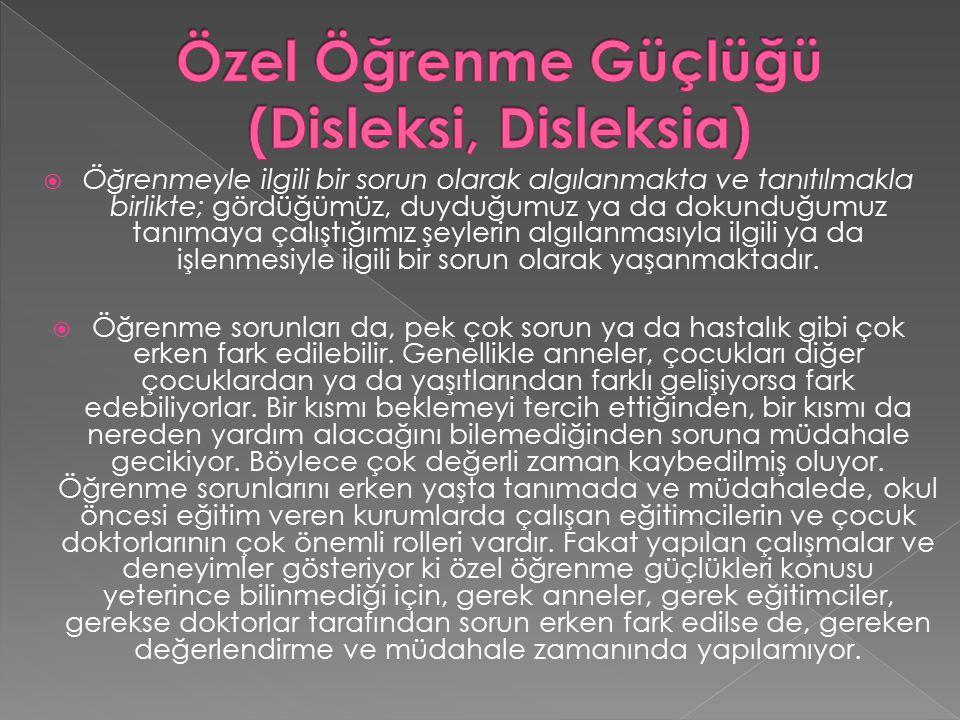 Özel Öğrenme Güçlüğü (Disleksi, Disleksia)