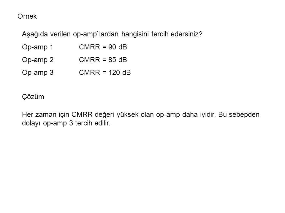 Örnek Aşağıda verilen op-amp`lardan hangisini tercih edersiniz Op-amp 1 CMRR = 90 dB. Op-amp 2 CMRR = 85 dB.