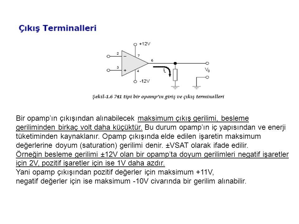 Bir opamp'ın çıkışından alınabilecek maksimum çıkış gerilimi, besleme geriliminden birkaç volt daha küçüktür. Bu durum opamp'ın iç yapısından ve enerji tüketiminden kaynaklanır. Opamp çıkışında elde edilen işaretin maksimum değerlerine doyum (saturation) gerilimi denir. ±VSAT olarak ifade edilir.