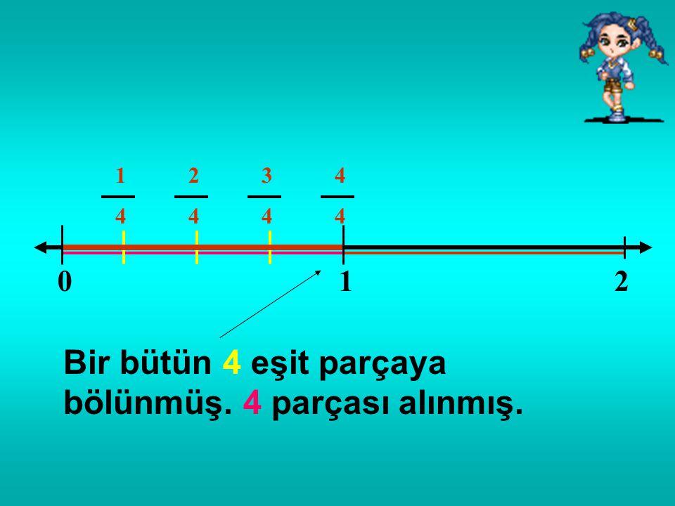 Bir bütün 4 eşit parçaya bölünmüş. 4 parçası alınmış.