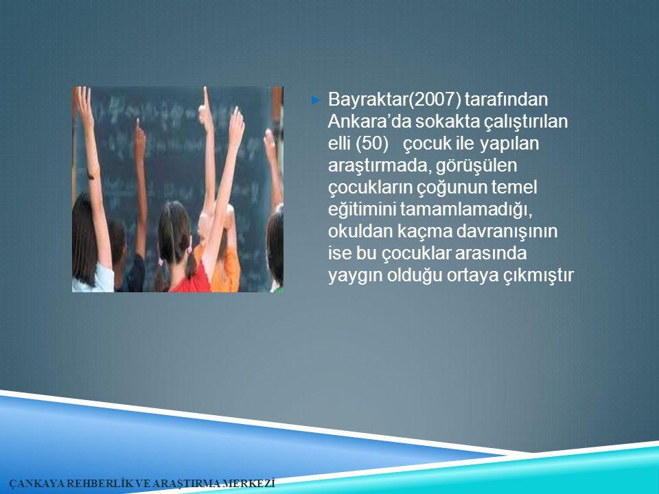 Bayraktar(2007) tarafından Ankara'da sokakta çalıştırılan elli (50) çocuk ile yapılan araştırmada, görüşülen çocukların çoğunun temel eğitimini tamamlamadığı, okuldan kaçma davranışının ise bu çocuklar arasında yaygın olduğu ortaya çıkmıştır
