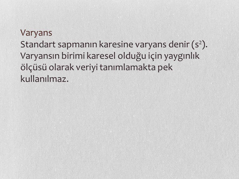 Varyans Standart sapmanın karesine varyans denir (s2)