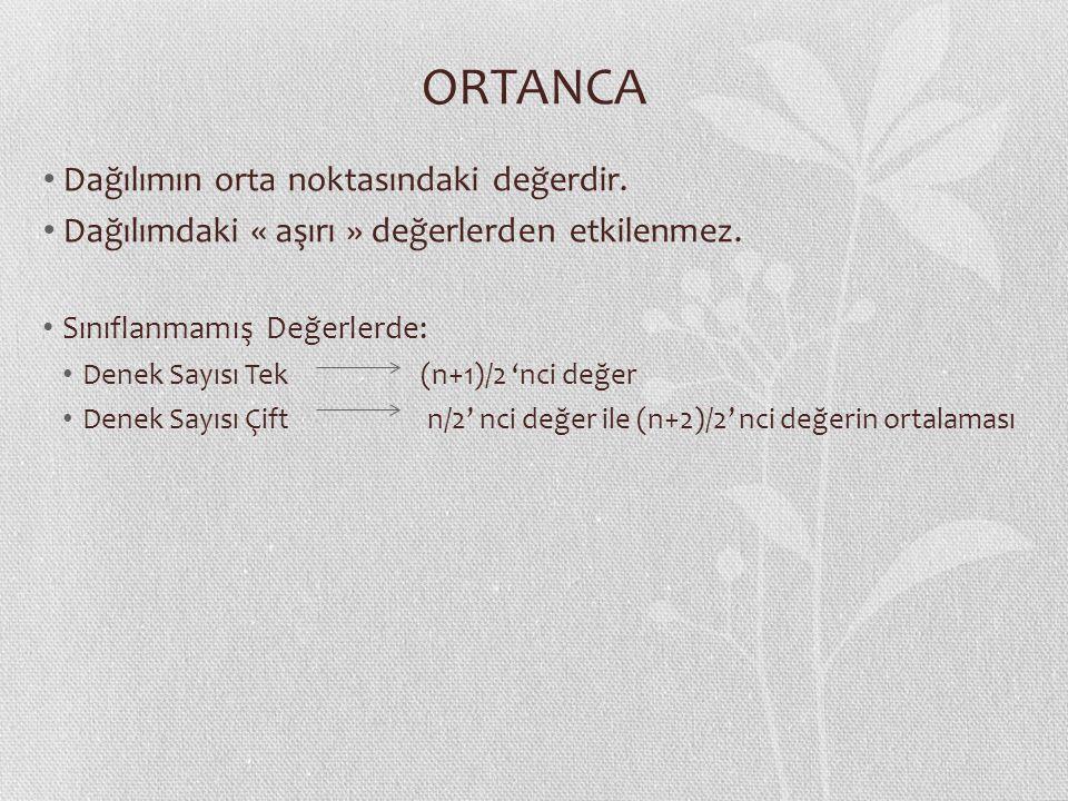 ORTANCA Dağılımın orta noktasındaki değerdir.