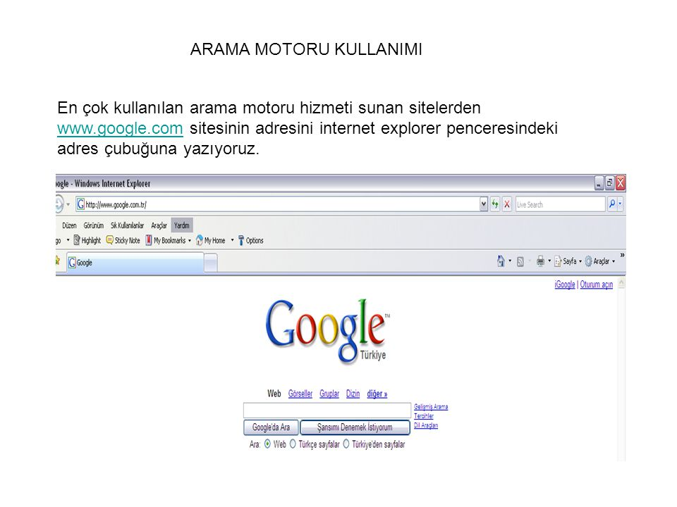 ARAMA MOTORU KULLANIMI