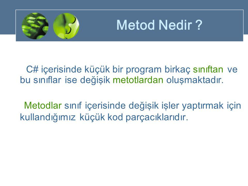 Metod Nedir C# içerisinde küçük bir program birkaç sınıftan ve bu sınıflar ise değişik metotlardan oluşmaktadır.