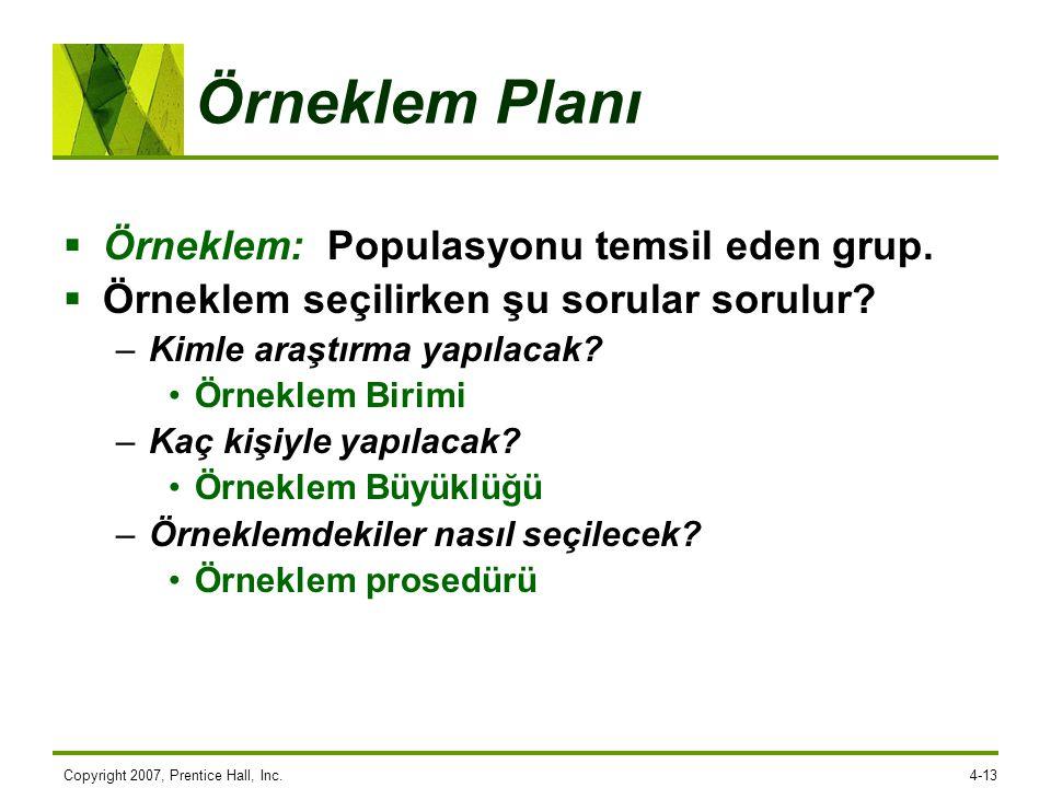 Örneklem Planı Örneklem: Populasyonu temsil eden grup.