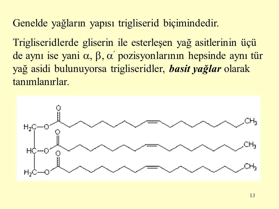 Genelde yağların yapısı trigliserid biçimindedir.