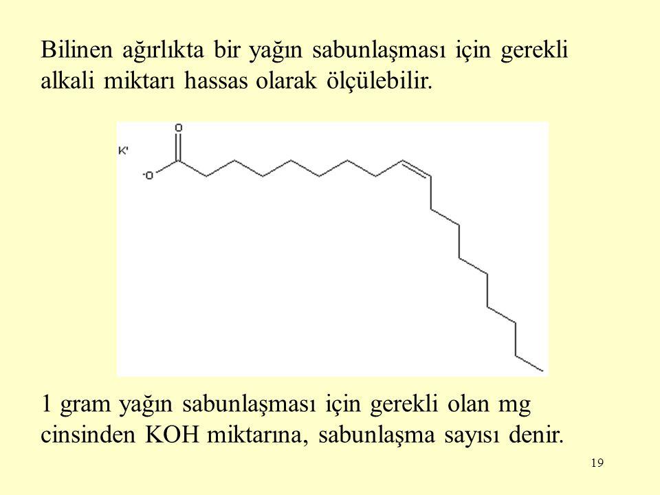 Bilinen ağırlıkta bir yağın sabunlaşması için gerekli alkali miktarı hassas olarak ölçülebilir.