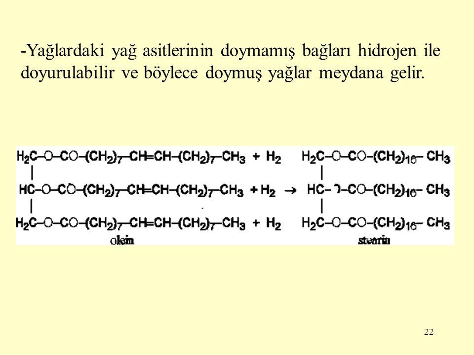 -Yağlardaki yağ asitlerinin doymamış bağları hidrojen ile doyurulabilir ve böylece doymuş yağlar meydana gelir.