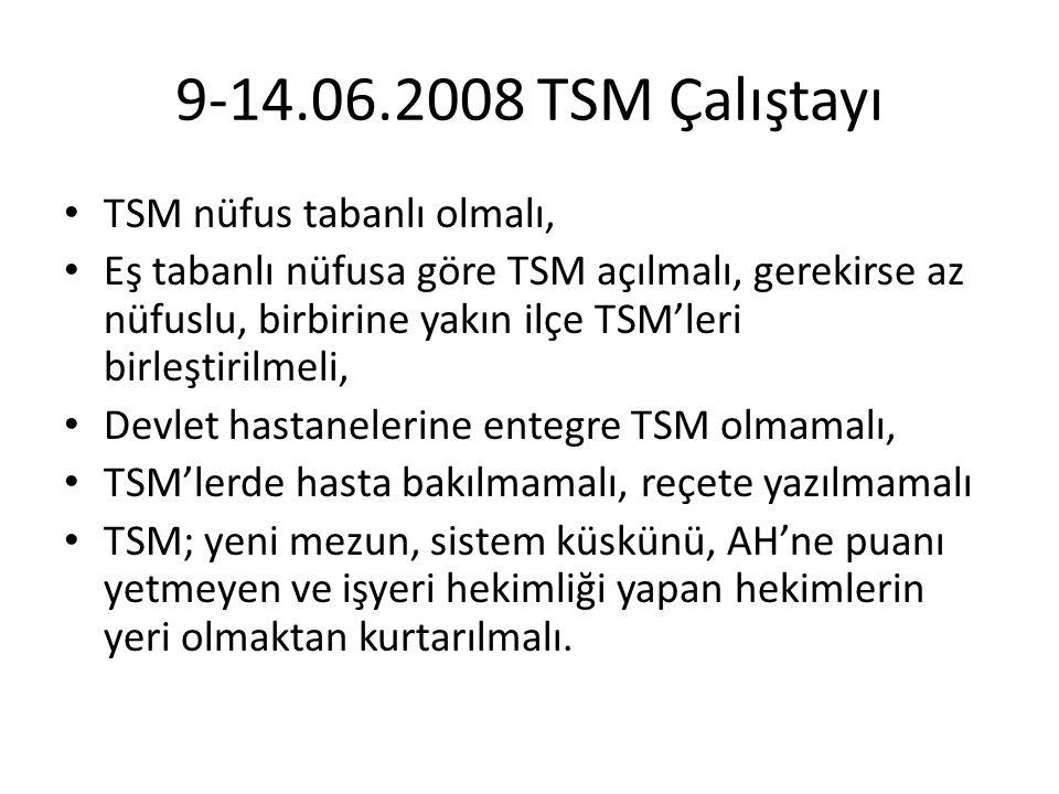 9-14.06.2008 TSM Çalıştayı TSM nüfus tabanlı olmalı,