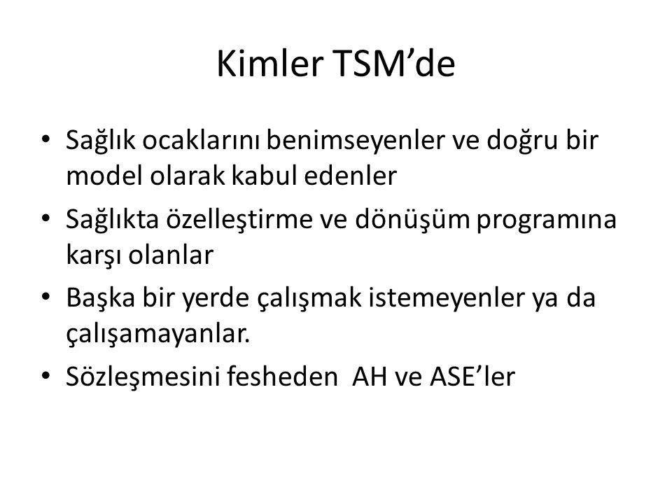 Kimler TSM'de Sağlık ocaklarını benimseyenler ve doğru bir model olarak kabul edenler. Sağlıkta özelleştirme ve dönüşüm programına karşı olanlar.