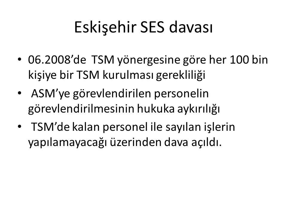 Eskişehir SES davası 06.2008'de TSM yönergesine göre her 100 bin kişiye bir TSM kurulması gerekliliği.