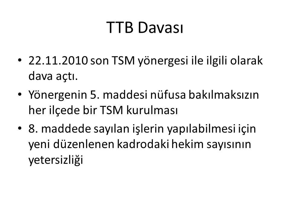 TTB Davası 22.11.2010 son TSM yönergesi ile ilgili olarak dava açtı.