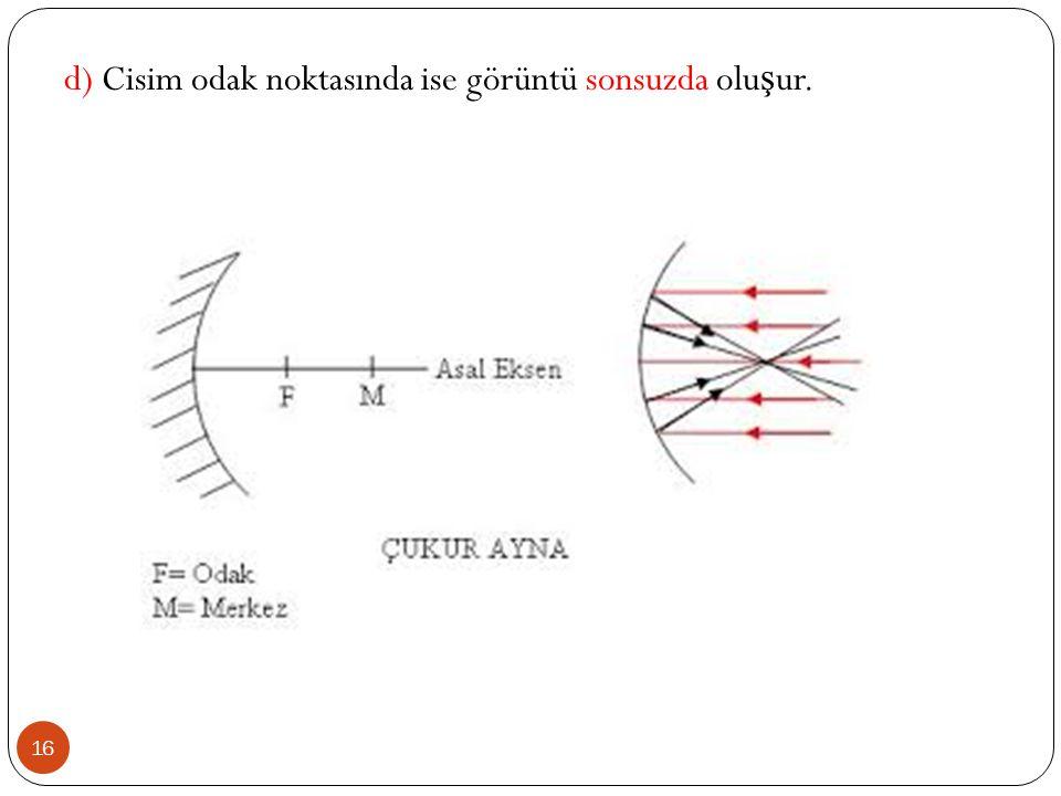 d) Cisim odak noktasında ise görüntü sonsuzda oluşur.
