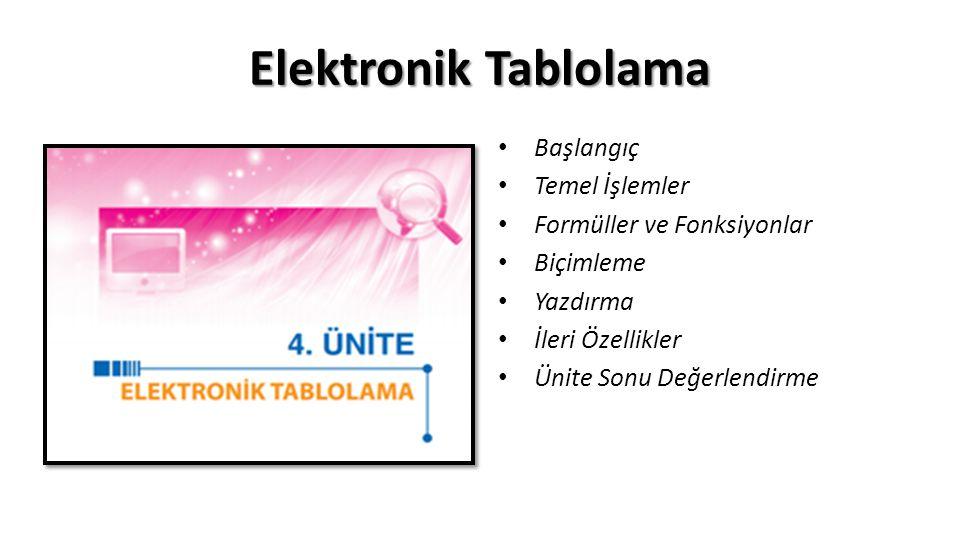 Elektronik Tablolama Başlangıç Temel İşlemler
