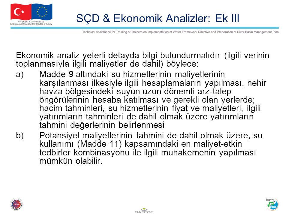 SÇD & Ekonomik Analizler: Ek III
