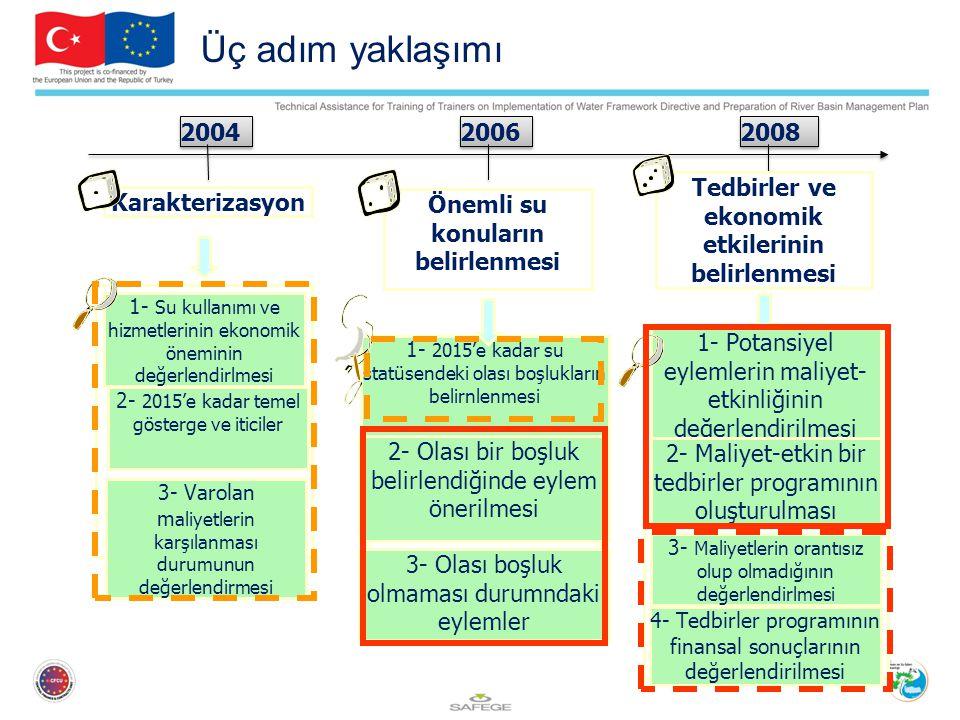 Üç adım yaklaşımı 2004. 2006. 2008. Tedbirler ve ekonomik etkilerinin belirlenmesi.