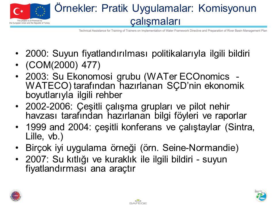 Örnekler: Pratik Uygulamalar: Komisyonun çalışmaları