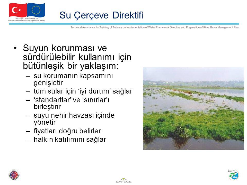 Su Çerçeve Direktifi Suyun korunması ve sürdürülebilir kullanımı için bütünleşik bir yaklaşım: su korumanın kapsamını genişletir.