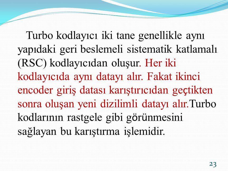 Turbo kodlayıcı iki tane genellikle aynı yapıdaki geri beslemeli sistematik katlamalı (RSC) kodlayıcıdan oluşur.