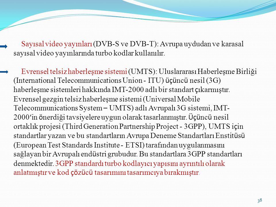 Sayısal video yayınları (DVB-S ve DVB-T): Avrupa uydudan ve karasal sayısal video yayınlarında turbo kodlar kullanılır.