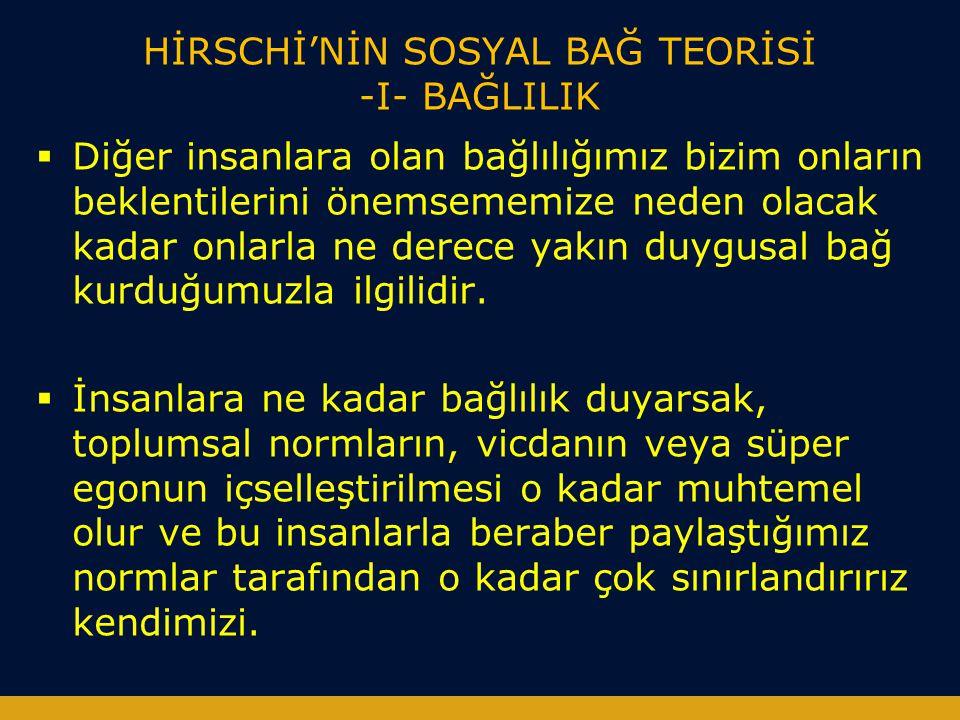 HİRSCHİ'NİN SOSYAL BAĞ TEORİSİ -I- BAĞLILIK