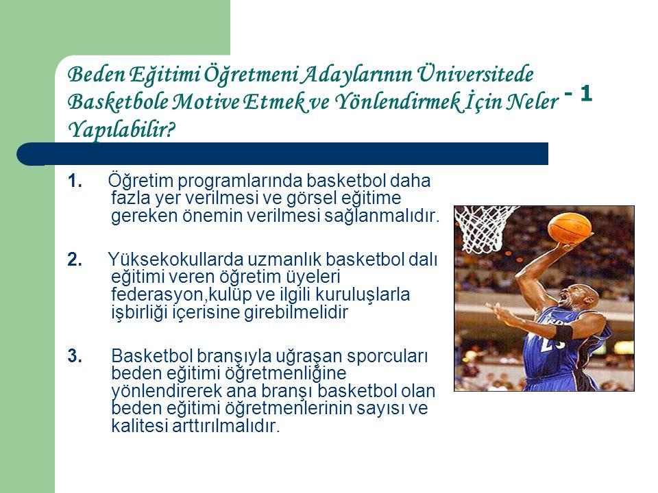 Beden Eğitimi Öğretmeni Adaylarının Üniversitede Basketbole Motive Etmek ve Yönlendirmek İçin Neler Yapılabilir