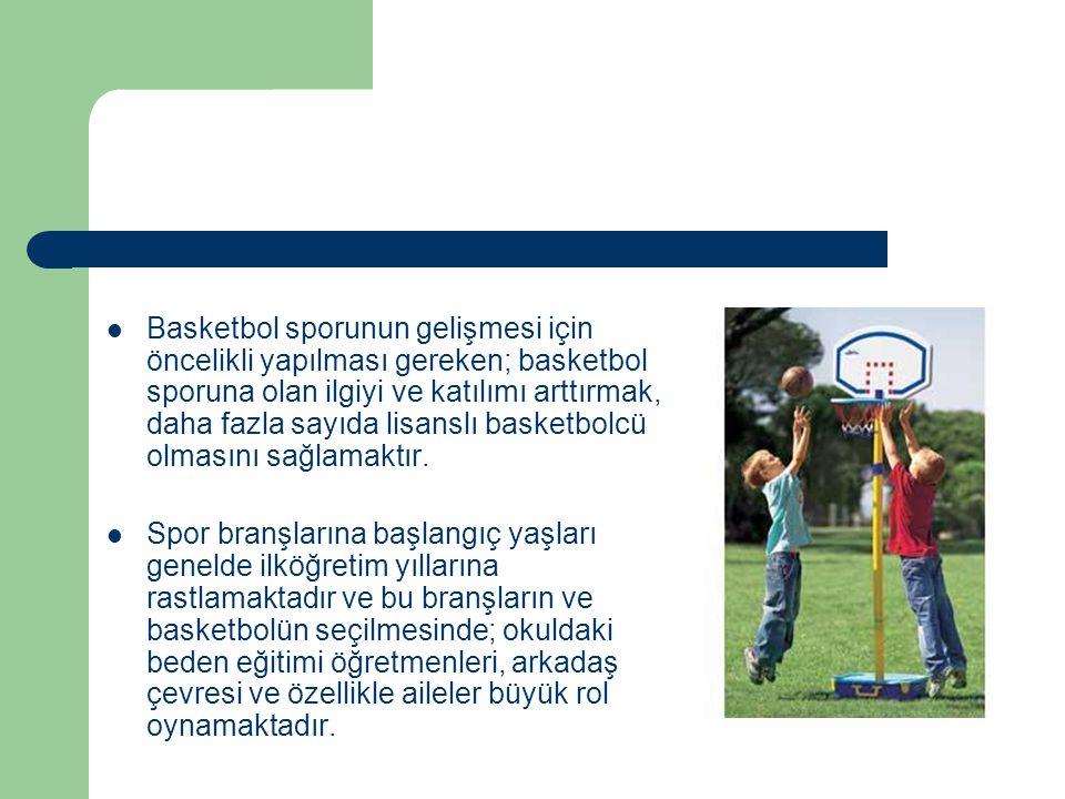 Basketbol sporunun gelişmesi için öncelikli yapılması gereken; basketbol sporuna olan ilgiyi ve katılımı arttırmak, daha fazla sayıda lisanslı basketbolcü olmasını sağlamaktır.