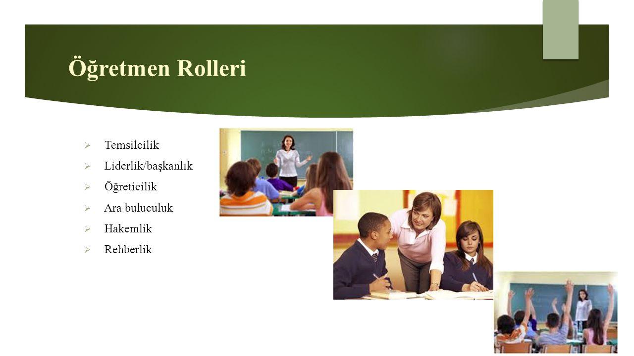 Öğretmen Rolleri Temsilcilik Liderlik/başkanlık Öğreticilik
