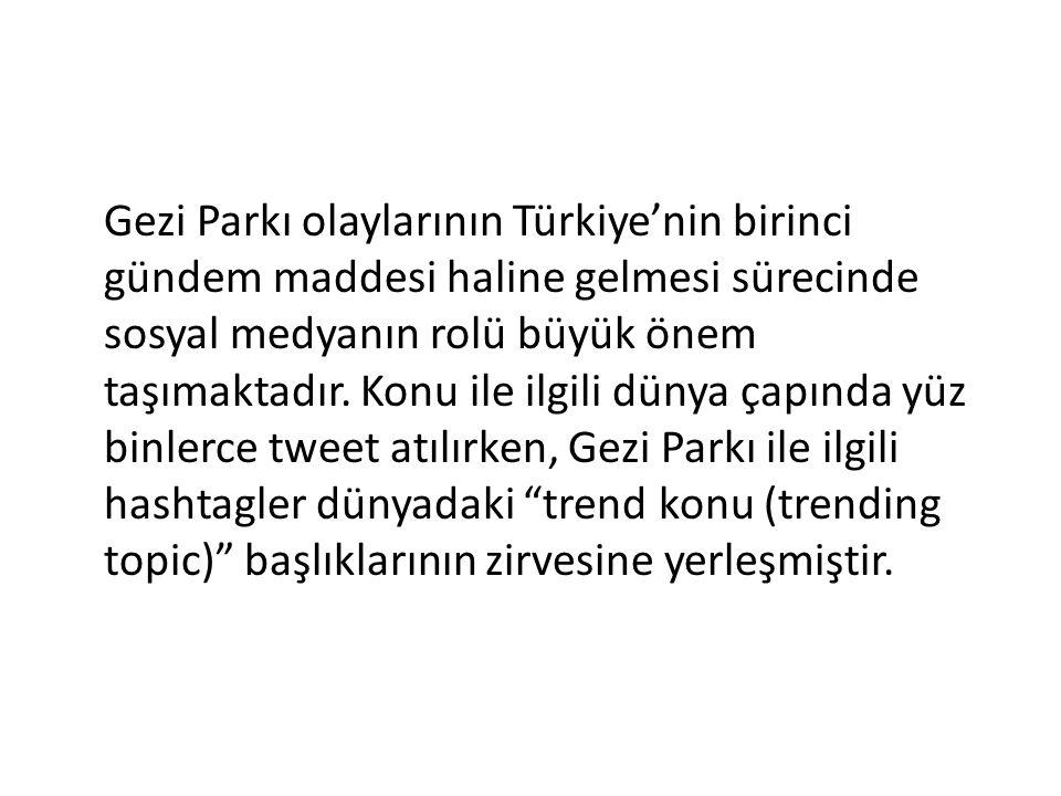 Gezi Parkı olaylarının Türkiye'nin birinci gündem maddesi haline gelmesi sürecinde sosyal medyanın rolü büyük önem taşımaktadır.