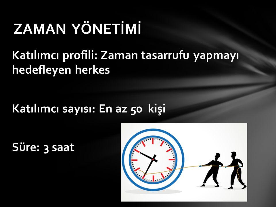 ZAMAN YÖNETİMİ Katılımcı profili: Zaman tasarrufu yapmayı hedefleyen herkes Katılımcı sayısı: En az 50 kişi Süre: 3 saat